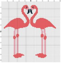 Beginner's Red Flamingoes Counted Cross Stitch Sewing Kit